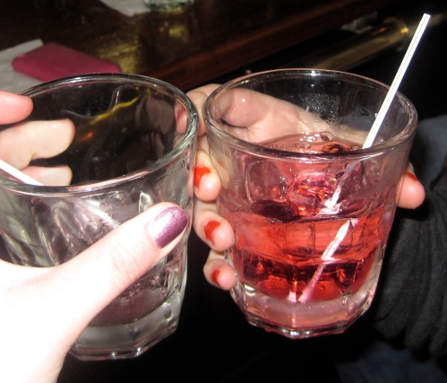 Good thing we got the same thing because Emily's drink is empty!